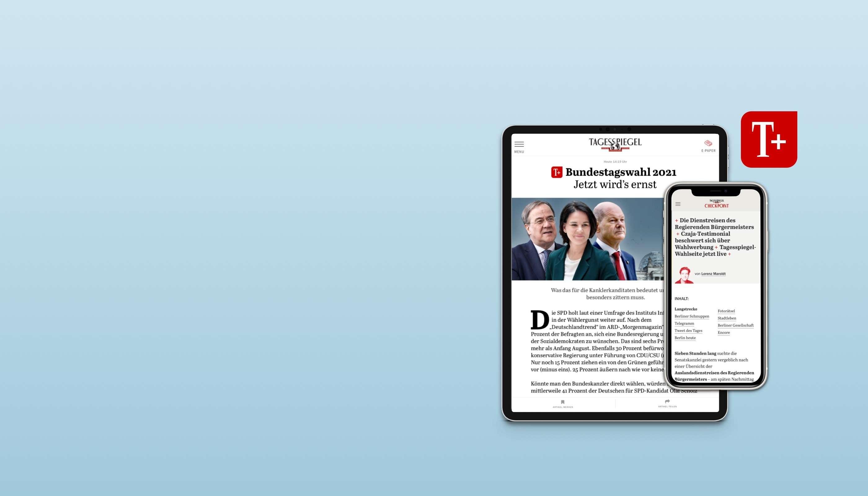 Lesen Sie jetzt 6 Wochen Tagesspiegel Plus gratis!