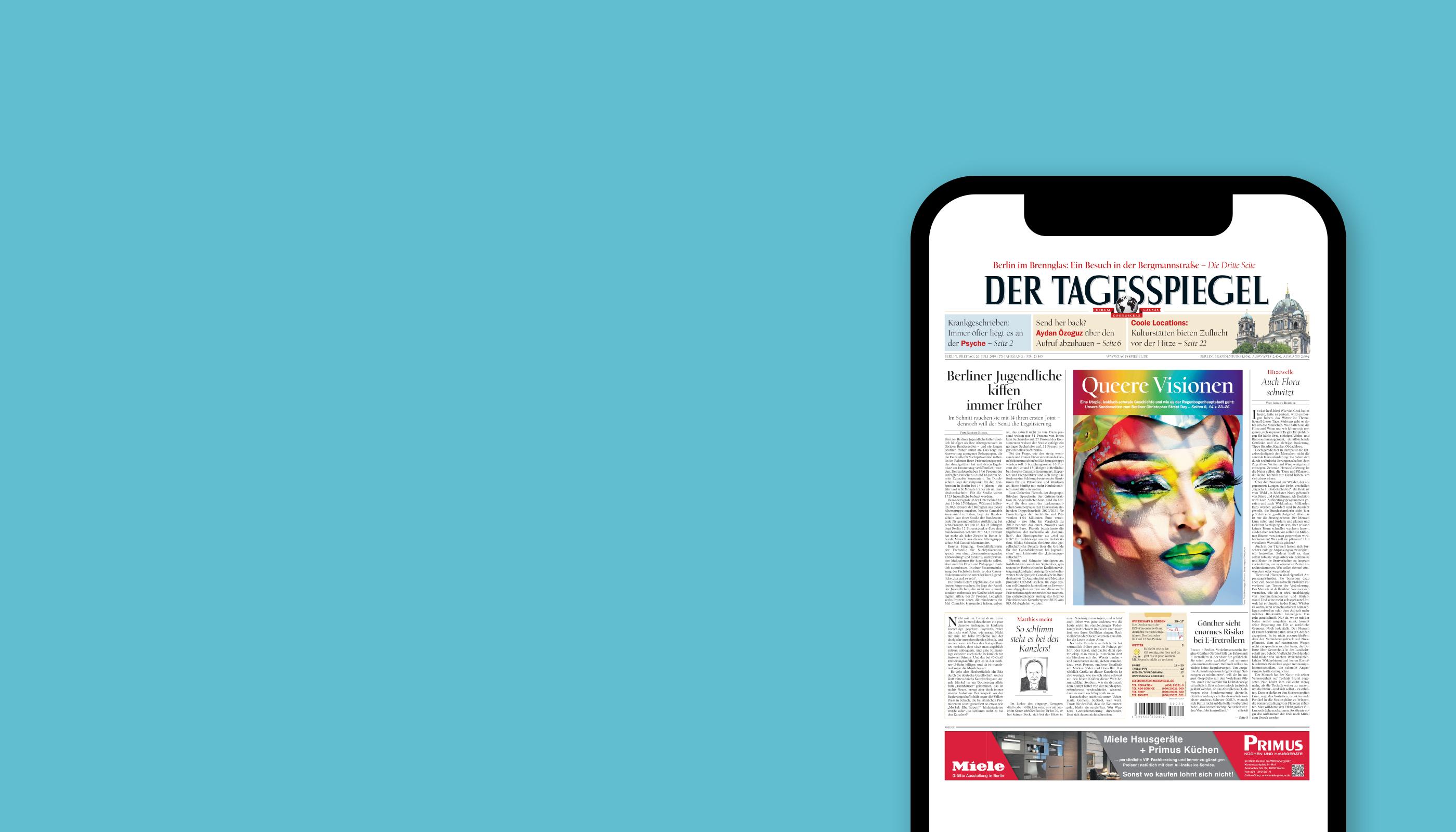 Tagesspiegel lesen. iPhone geschenkt.