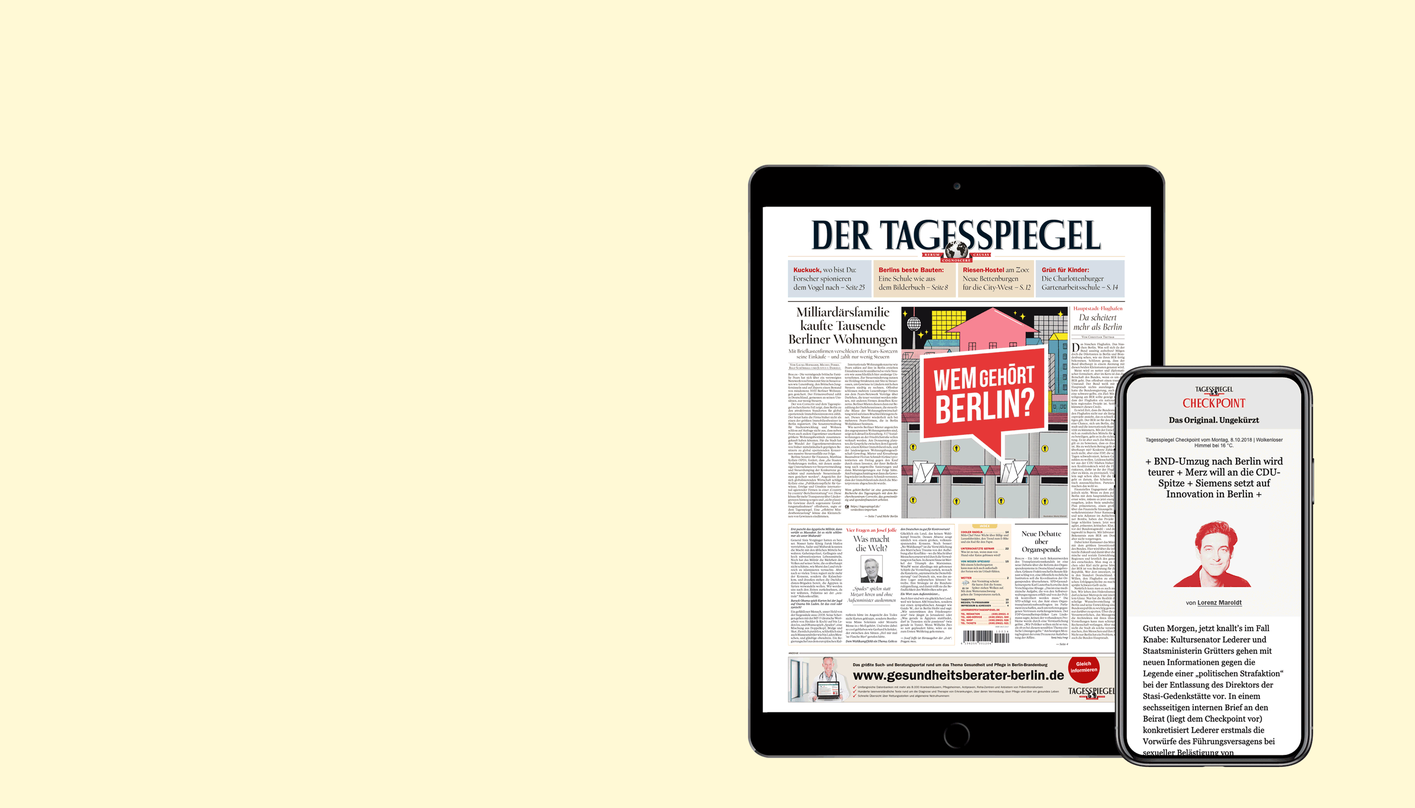 Tagesspiegel lesen. iPad oder iPhone geschenkt.